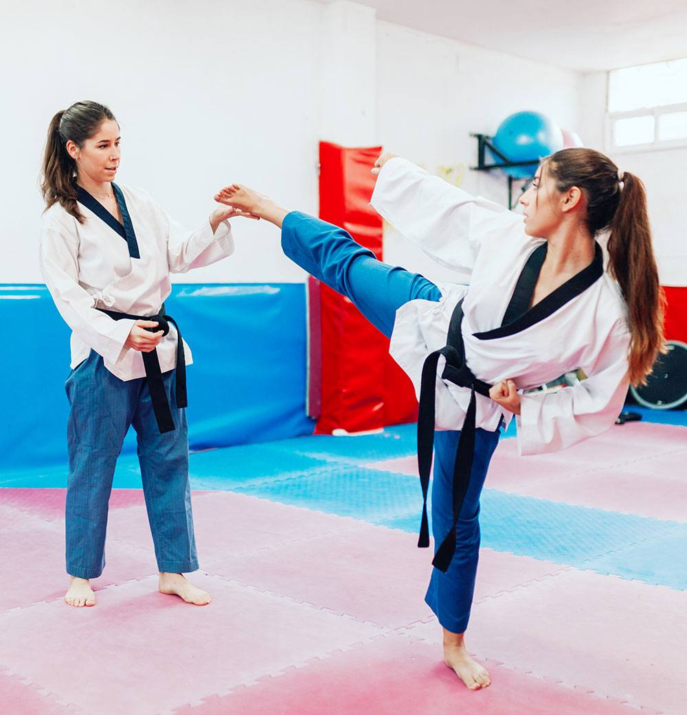 martial arts students training